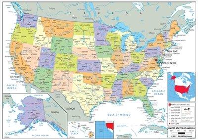 Map Of America Ks2.Wildgoose Education Wg3525 Usa Political Map 84 Cm X 59 Cm Amazon