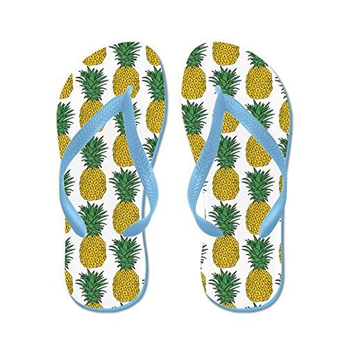 Cafepress Su Tutto Il Modello Di Ananas - Infradito, Sandali Infradito Divertenti, Sandali Da Spiaggia Blu Caraibico