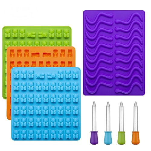 WARMWIND Silicone Gummy Bear Worm Molds, Non-Stick Candy Molds, FDA-Approved Chocolate, Jelly Molds, Dishwasher Safe, 4 Bonus Droppers, Blue, Orange, Green, Purple(Set of 4) ()