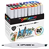 40 Color Super Markers Primary Tones Dual Tip Set - Double-Ended Permanent Art Markers with Fine Bullet and Chisel Point Tips - Ergonomic Tri-Oval Barrels - Draw, Sketch, Illustrate, Render, Manga