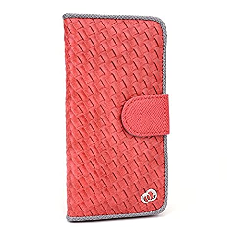 Kroo Embossed Woven Designed Flip Folio Wallet for Apple iPhone 6 - Non-Retail Packaging - Red (12 South Iphone 6 Plus Dock)