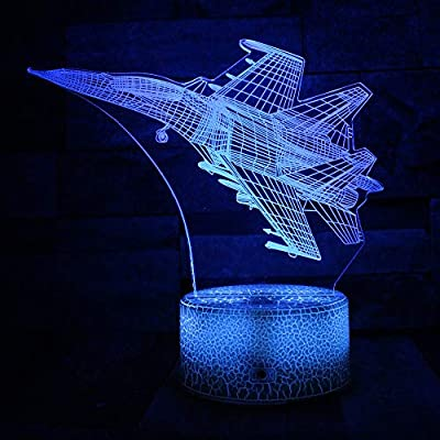 DFDLNL Avión 3D Night Light 7 Cambio de Color LED Escritorio ...