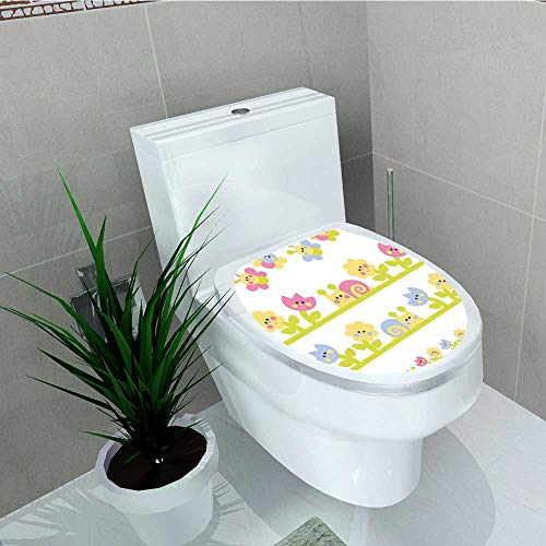 (Analisa A. Houk Toilet Sticker Character Bees Tulip Daisy Snails Garden Baby Blue Light Green Yellow Home Decor Applique Papers W12 x L14)