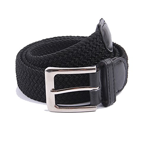 Woven Solid Color (Canvas Elastic Fabric Woven Stretch Braided Belts Solid Color 2044-Black-M)