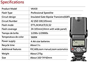 Voking VK430 pantalla LCD E-TTL Speedlite zapata flash para Canon ...