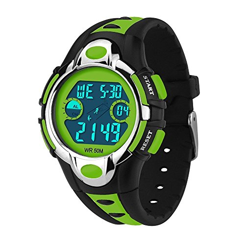 Siniya Kids Watch Quartz Watch Waterproof Swimming Sports Watch Boys Girls Led Digital Watches for Kids (7 Colors Black Green) by Siniya (Image #3)