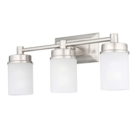Hampton bay 1001220862 transitional 3 light brushed nickel vanity light