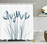 Ambesonne Flower Shower Curtain, X-ray Transparent Image of Tulips Solarized Effect Nature Inspired, Cloth Fabric Bathroom Decor Set with Hooks, 70 Inches, Dark Petrol Blue and White