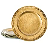 KooK Antique Gold Charger With Beaded Rim 14 Inch - (Set Of 6)