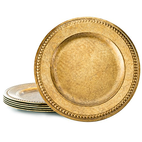 Spring Dining Room Set (KooK Antique Gold Charger With Beaded Rim 14 Inch - (Set Of 6))