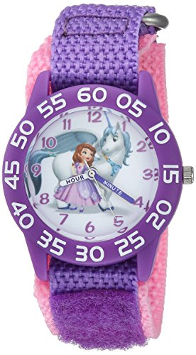 Disney Girl's 'Princess Sofia' Quartz Plastic and Nylon Casual Watch, Color:Purple (Model: WDS000264)
