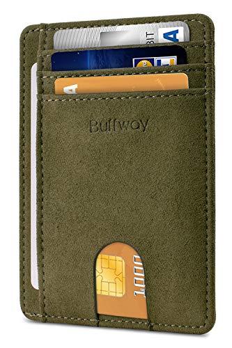 Slim Minimalist Leather Wallets for Men & Women - At Sahara Desert Green (Green Travel Wallet)