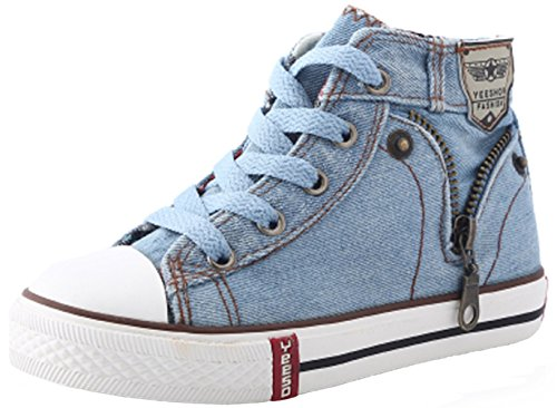 PPXID Boy's Girl's High Top Canvas Sneaker Lace up Casual Board Shoes Shoes-Light Blue 3 US Size