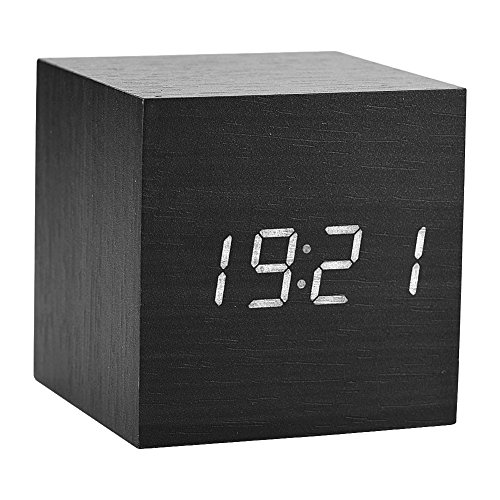 Alarm Clocks Led Electronic Voice Control Wooden Alarm Clock Natural Touching Feel Fresh Visual Experience Support Wireless Charging Clear And Distinctive
