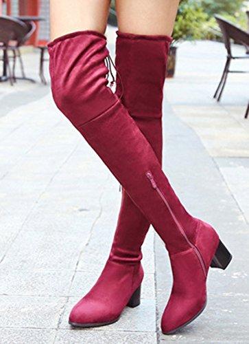 Aisun Donna Comfort Fresco Punta A Punta Cerniera Sul Retro Abito Stringato Tacco Medio Sopra Al Ginocchio Scarpe Alte Alte Scarpe Rosse
