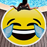 FLY SPRAY Oversized Thick Round Beach Towel Blanket with Tassels 59'' Laughing and Crying Emoji Expression Pattern Ultra Super Water Absorbent Muti-Purpose Soft Microfiber Camping Picnic Vacation Mat