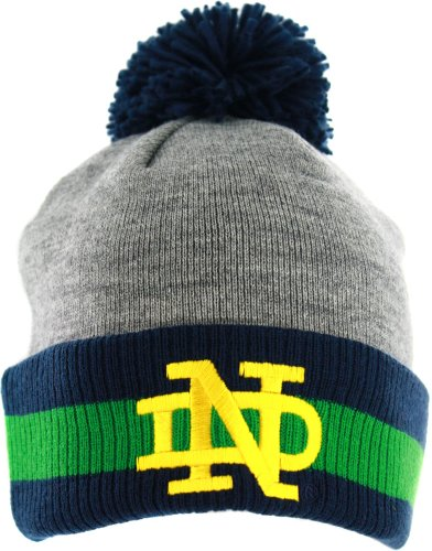 Fighting Irish Green Jersey - Notre Dame Fighting Irish Mitchell & Ness Jersey Stripe Cuffed Knit Hat w/ Pom