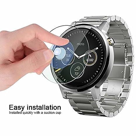 KAIBSEN® Motorola Moto 360 2nd Generation 42/46mm Smart Watch 2.5D protector de pantalla de vidrio templado, HD Clear film de vidrio no-burbuja, 9H ...