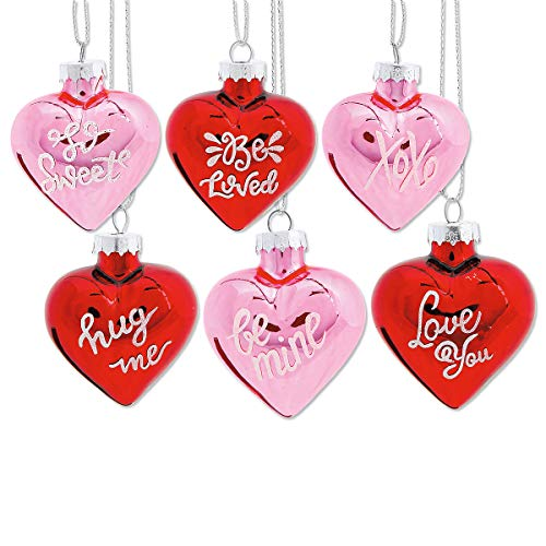 Lillian Vernon Glass Heart Valentine's Day Ornaments - Set of 12, 6 of Each Color, Sparkling Glitter Decorations, Holiday Home Decor, 1-1/4 x 2 x 2-1/2