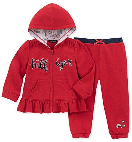 Tommy Hilfiger Baby Girls 2 Pieces Jacket Jog Set, red, 3-6 Months