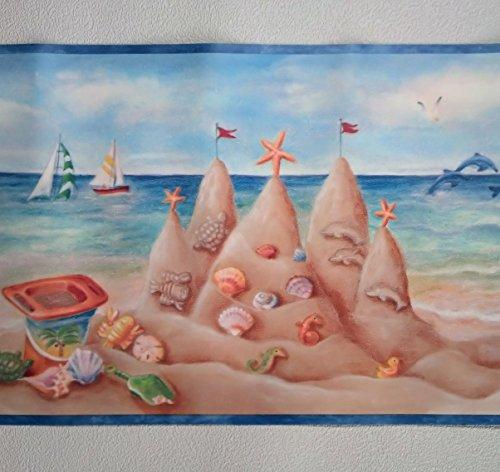 Seashore Sand Castles Wallpaper Border - ()