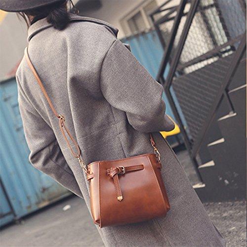 Softmusic Handbag Light Vintage Women Messenger Brown Bag Purse Shoulder rF7rqwHO