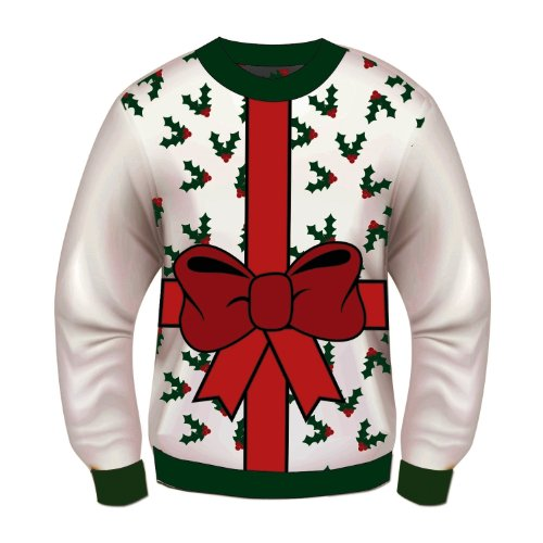 Tacky Outfit (Forum Novelties Adult All Wrapped Up White Ugly Christmas Sweater, Multi, Medium)