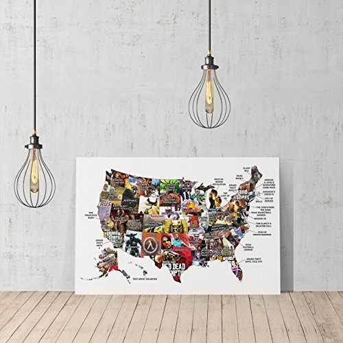 United States Video Games Map by States Canvas Print Decorat