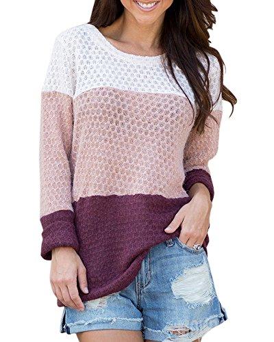 Waffle Knit Tee - Imily Bela Womens Color Block Long Sleeve Knit Blouses Top Crew Neck Loose Sweatshirt