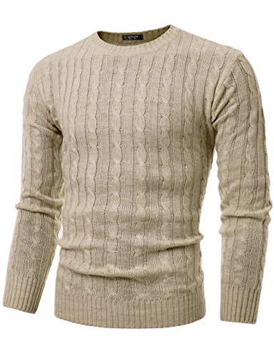GIVON Mens Slim Fit Cable Knit Long Sleeve Crew-Neck Pullover Sweater/DCP040-BEIGE-XL (Crewneck Cable Mens)