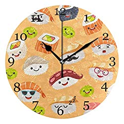 KUWT Cute Japanese Sushi Emoji Wall Clock Silent Non-Ticking 9.5 Inch Round Clock Acrylic Art Painting Home Office School Decor