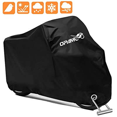Motorcycle Scooter Cover Waterproof Outdoor - Large Medium XL 250cc 150cc 50cc Scooter Shelter for Harleys All Weather Motorbike Protection with Lock Holes Tear-proof Heavy-Duty: Automotive