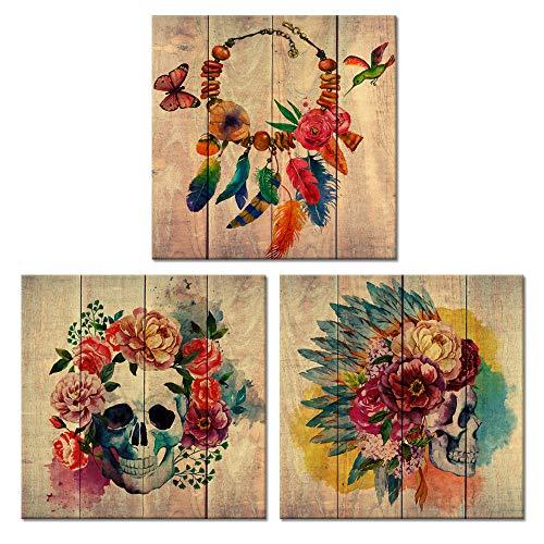(Visual Art Decor Abstract Floral Skull Canvas Wall Art Sugar Skull Poster Art Decor Painting Prints Framed Wall Art (Modern Skull Medium))