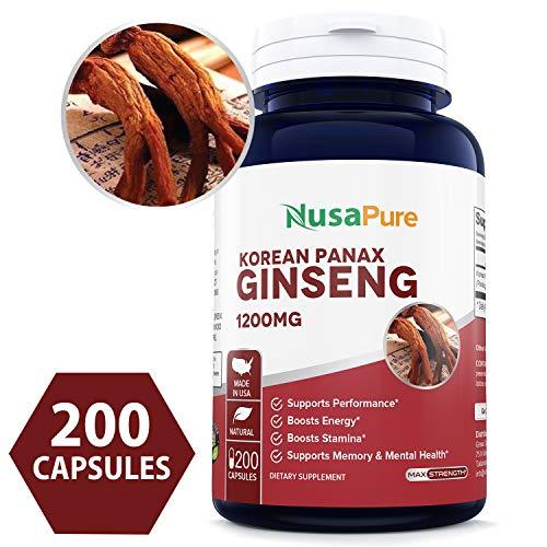 Red Korean Panax Ginseng 1200mg 200 Caps (Non-GMO & Gluten Free) Improve Stamina, Optimize Performance, Mental Health Pills - Extra Strength Ginsenosides
