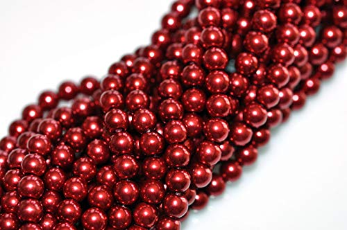 6 Mm Red Glass - Jewelry Making Beads 70 Crimson Red Glass Pearl Round Beads 6MM Limited