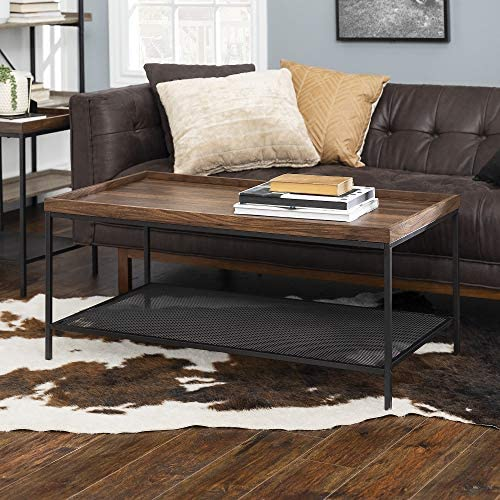 WE Furniture Industrial Coffee Accent Table Living Room Rectangle, 42 Inch, Walnut Brown