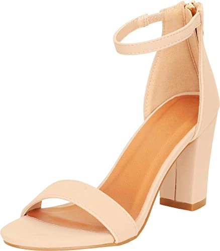 426665e24 Cambridge Select Women's Open Toe Single Band Stretch Ankle Strappy Chunky  Stacked Block Heel Sandal (