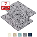 Grey Rugs for Bathroom Machine-Washable Bath Mats with Water Absorbent Soft Microfibers Bathroom Rugs Non Slip Shag Bath Mat for Bedroom Bath Mats for Floors, 17''x 24'', Grey, Two Pack