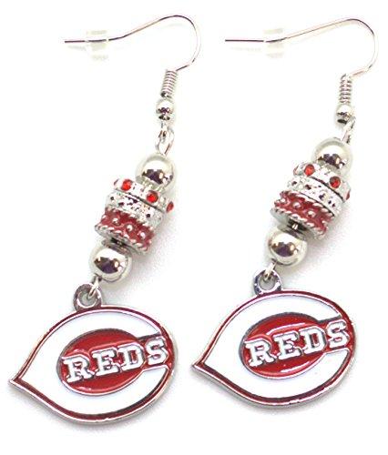 Cincinnati Reds Ring - MLB Cincinnati Reds Womens Siskiyoueuro Bead Earrings, Red, Dangle