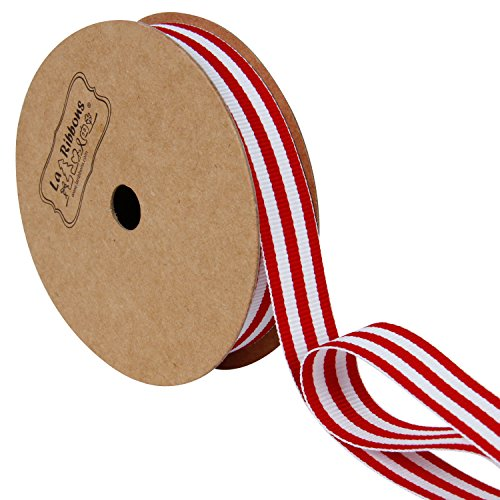 LaRibbons Red and White Striped Grosgrain Ribbon/Gift Wrap Ribbon, 5/8 Inch by 10 Yard/Spool ()