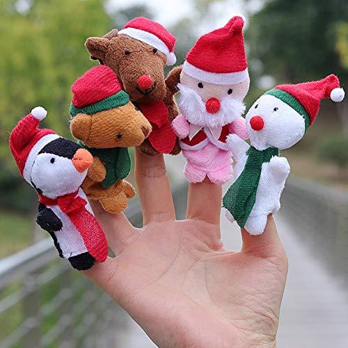 dds5391 Novelty 5Pcs Story Time Christmas Santa Snowman Finger Puppet Plush Toy Kids Baby Doll