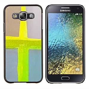 TECHCASE---Cubierta de la caja de protección para la piel dura ** Samsung Galaxy E5 E500 ** --Cruce de neón de Jesús Acuarela Amarillo