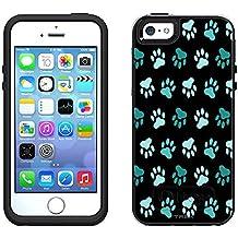 OtterBox Symmetry Apple iPhone SE Case - Turquoise Paw Pattern on Black OtterBox Case