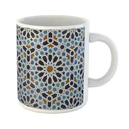 Semtomn Funny Coffee Mug Blue Zellige Moroccan Pattern in Riad Fes Morocco Green 11 Oz Ceramic Coffee Mugs Tea Cup Best Gift Or Souvenir (Best Riads In Morocco)