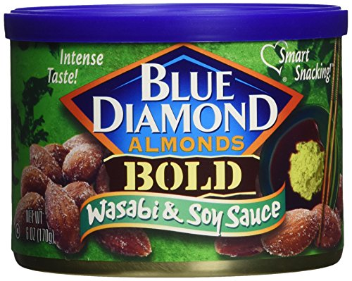 Blue Diamond, Almonds, Bold Wasabi & Soy, 6 ounce Can (3 Pack) ()