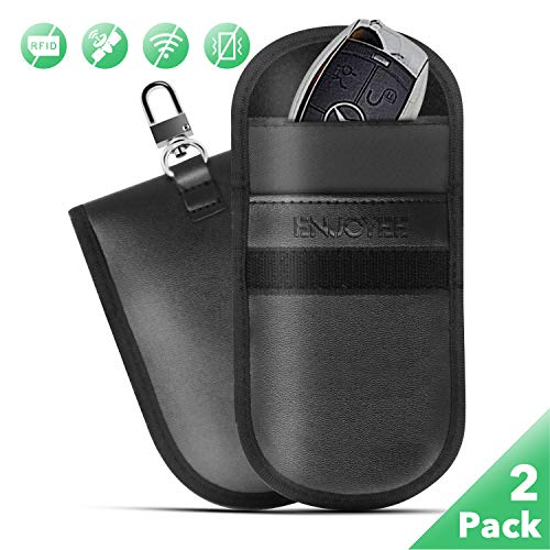 Faraday Bag, Enjoyee 2 Pack Faraday Car Key Fob RFID Signal Blocking Protector Cage with a Keychain for Anti-Theft and Anti-Hacking