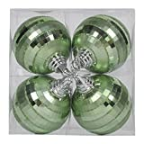 Vickerman M151454 Plastic Shiny Matte Mirror Ball with Matching Glitter in 4/Box, 4'', Celadon