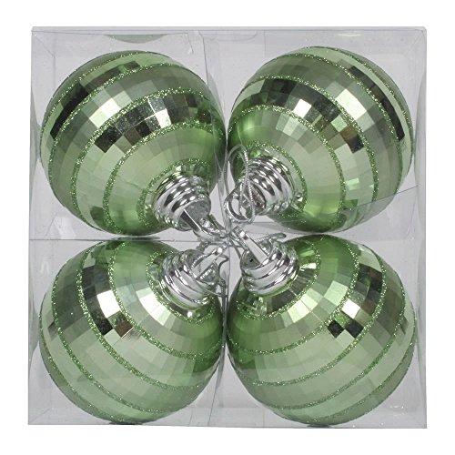 Vickerman M151454 Plastic Shiny Matte Mirror Ball with Matching Glitter in 4/Box, 4'', Celadon by Vickerman