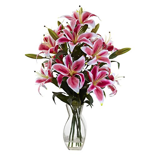 Nearly-Natural-Rubrum-Lily-Silk-Flower-with-Glass-Vase