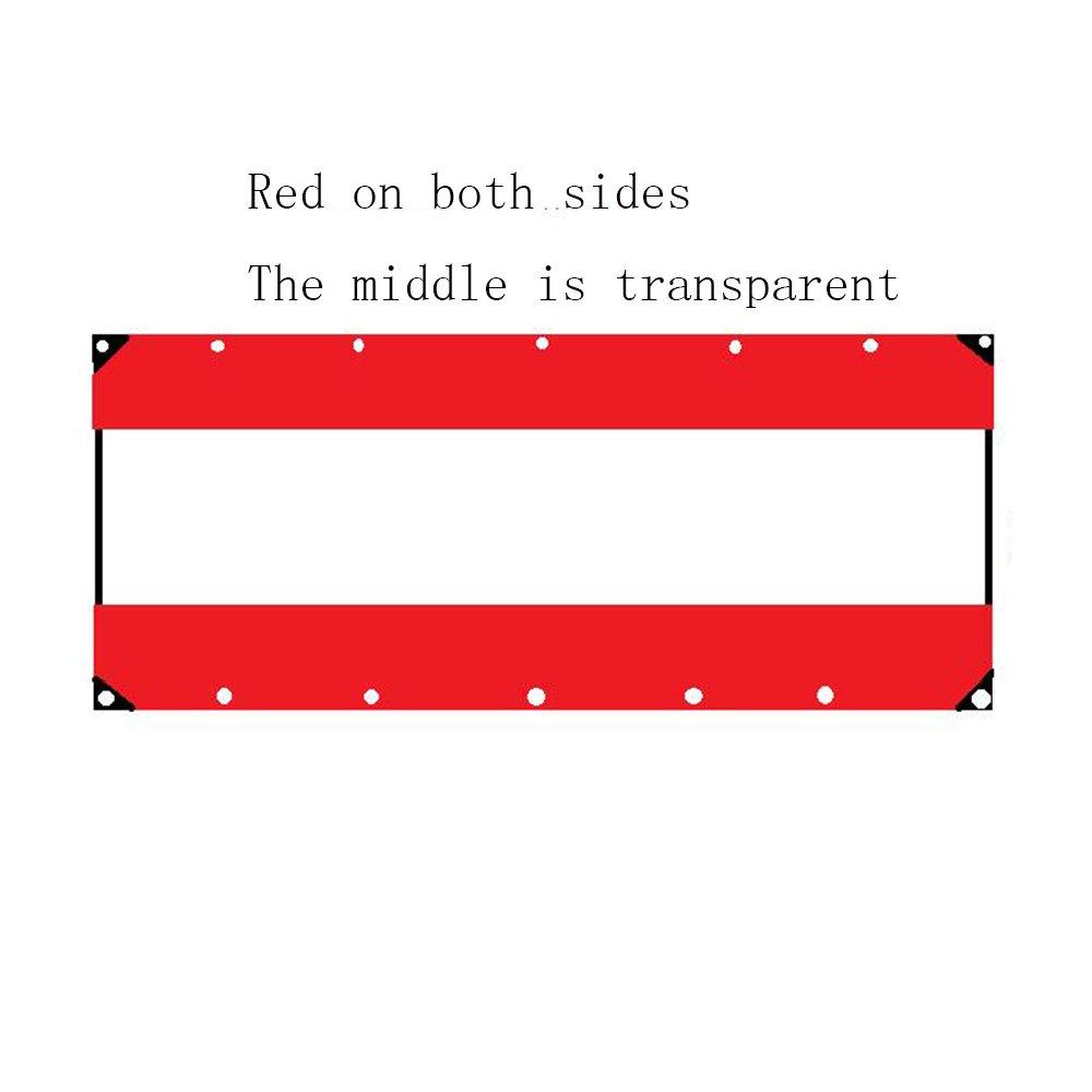YANGFEI 防水シート 透明な防水シートタフヘビーデューティタポリンクロスラミネート、透明、アイレット/UV安定性を含む3サイズ 耐久性に優れています B07FC314N8 1×5m|Red+Trans+red Red+Transparent+red 1×5m